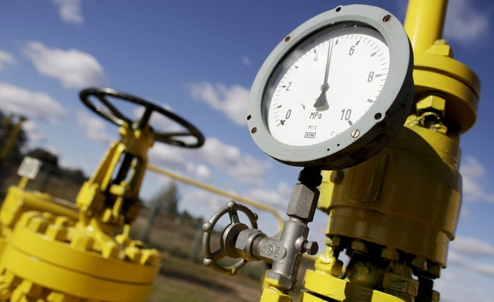A pressure gauge is pictured at a Gaz-System gas compressor station in Rembelszczyzna outside Warsaw